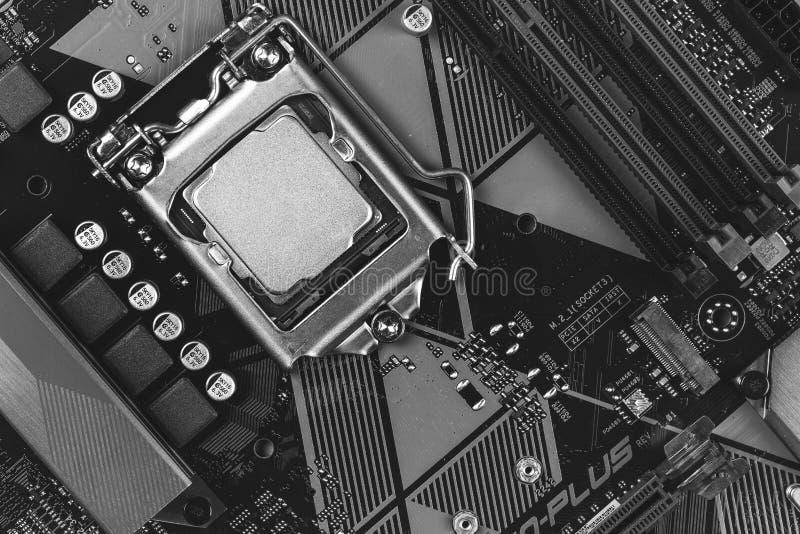 Gen do processador Desktop 8o na opinião superior do close up do cartão-matriz do fundo fotos de stock royalty free
