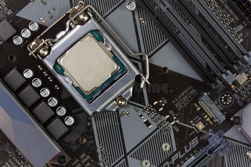 Gen do processador Desktop 8o no close up do cartão-matriz do fundo fotografia de stock royalty free