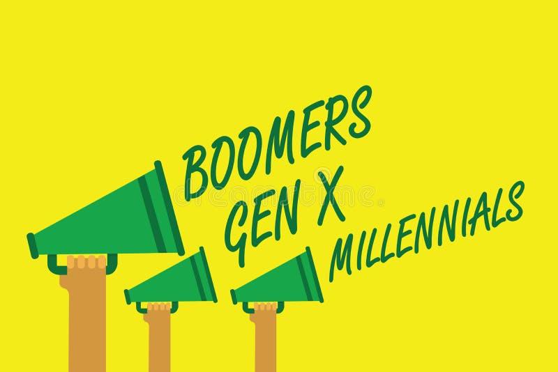 GEN X Millennials de boomers d'écriture des textes d'écriture Concept signifiant généralement considéré environ trente ans de mai illustration de vecteur