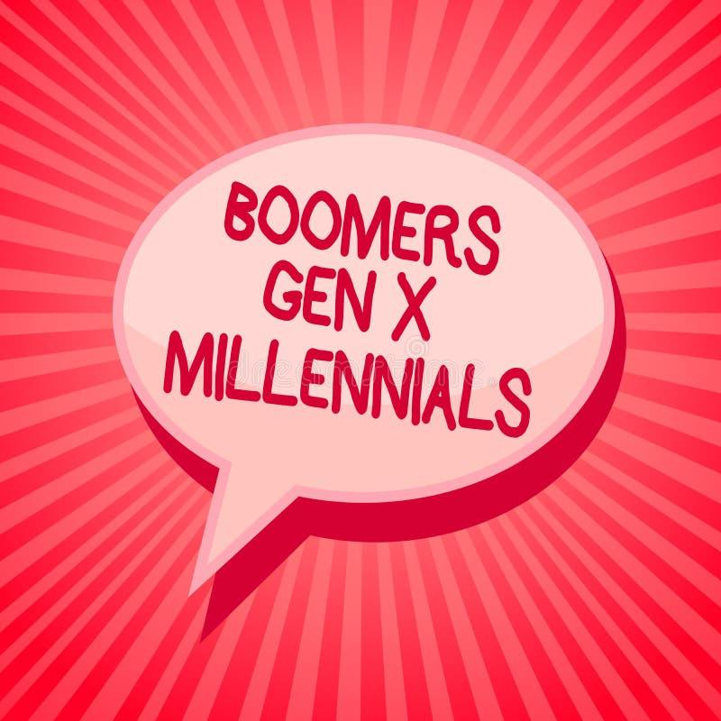 GEN X Millennials de boomers d'écriture des textes d'écriture Le concept signifiant généralement considéré environ trente ans den illustration stock