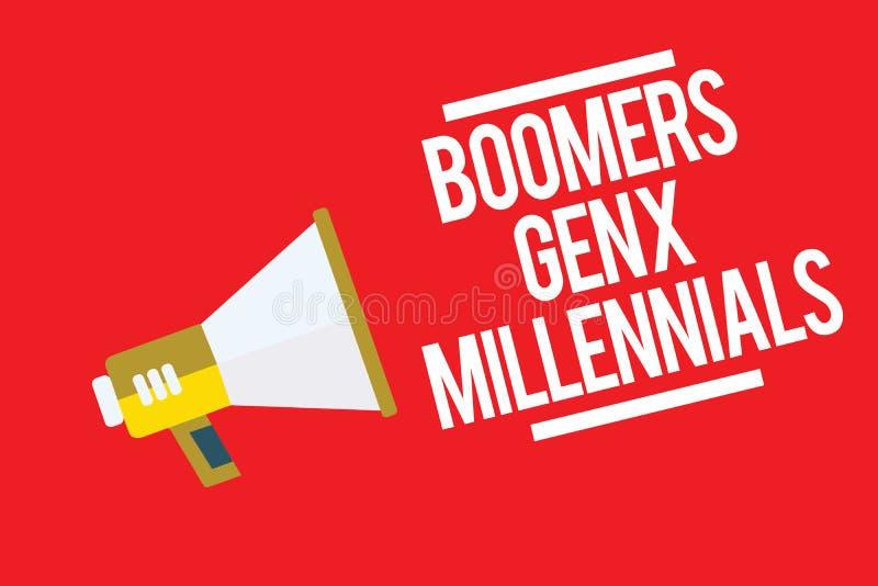 GEN X Millennials de boomers des textes d'écriture Concept signifiant généralement considéré environ trente ans de haut-parleur d illustration libre de droits
