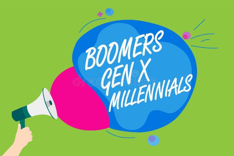 GEN X Millennials de boomers des textes d'écriture Le concept signifiant généralement considéré environ trente ans équipent se te illustration de vecteur