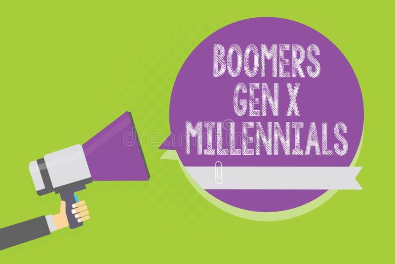 GEN X Millennials de boomers des textes d'écriture de Word Concept d'affaires pour que généralement considéré environ trente ans  illustration libre de droits