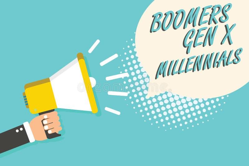 GEN X Millennials de boomers des textes d'écriture de Word Le concept d'affaires pour que généralement considéré environ trente a illustration de vecteur