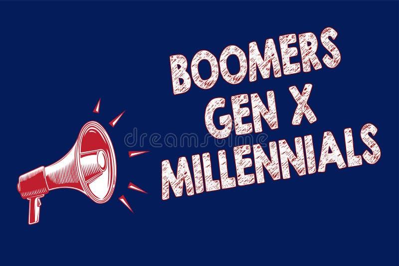GEN X Millennials de los nacidos en el baby-boom del texto de la escritura de la palabra Concepto del negocio para que considerad imagenes de archivo