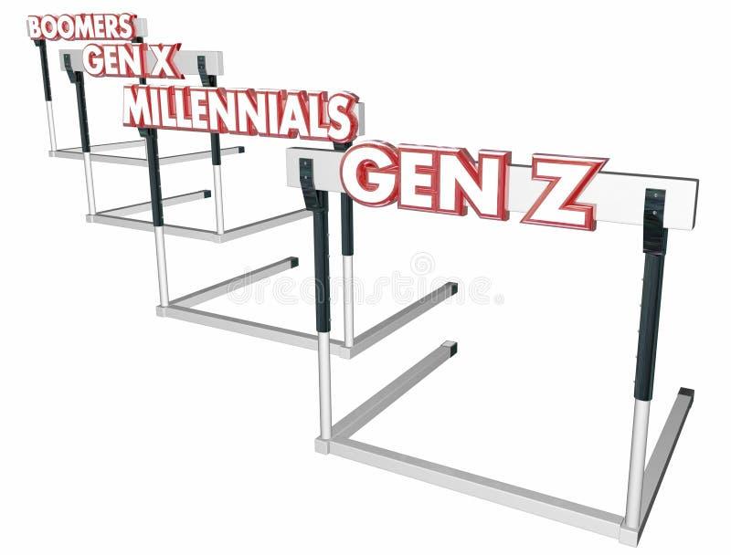 Gen Z Hurdles för Boomersutveckling X Millennials stock illustrationer