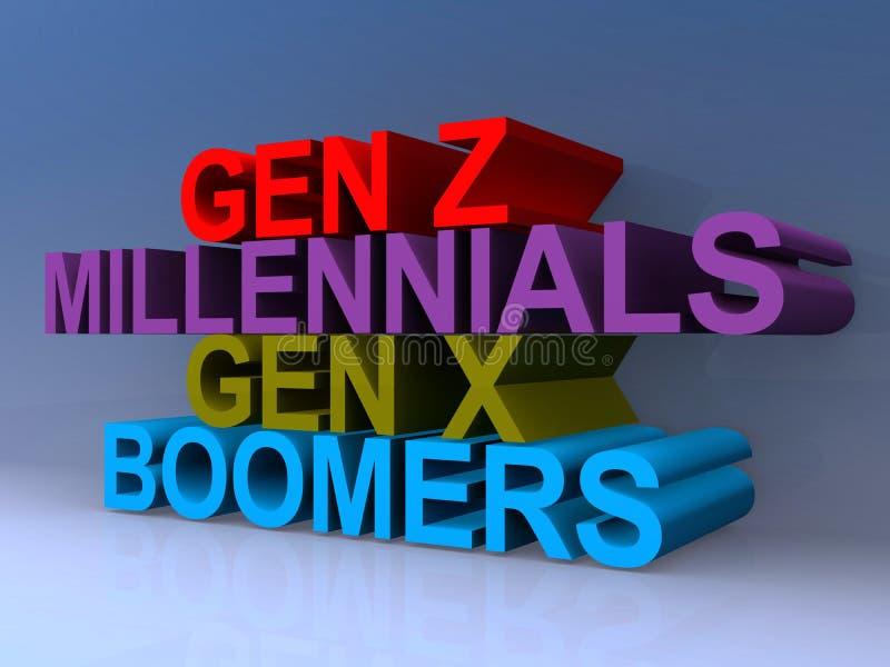Gen z millenials gen x boomer stock abbildung