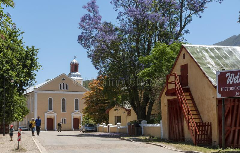 Garden route places to visit. South Africa. Genadendal, Overberg, Western Cape, South Africa. Centre of this historic town and Moravian Church along the Garden stock photography