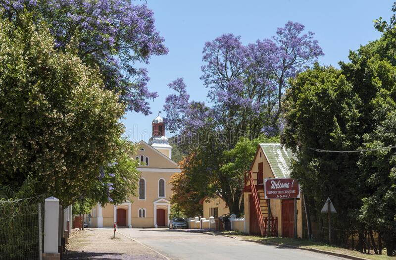 Genadendal  small historic South African towns and church. Genadendal, Overberg, Western Cape, South Africa. Dec 2019.  Centre of this historic town and royalty free stock photos