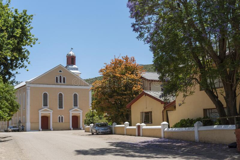 Genadendal  small historic South African towns and church. Genadendal, Overberg, Western Cape, South Africa. Dec 2019. Centre of this historic town and Moravian royalty free stock photo
