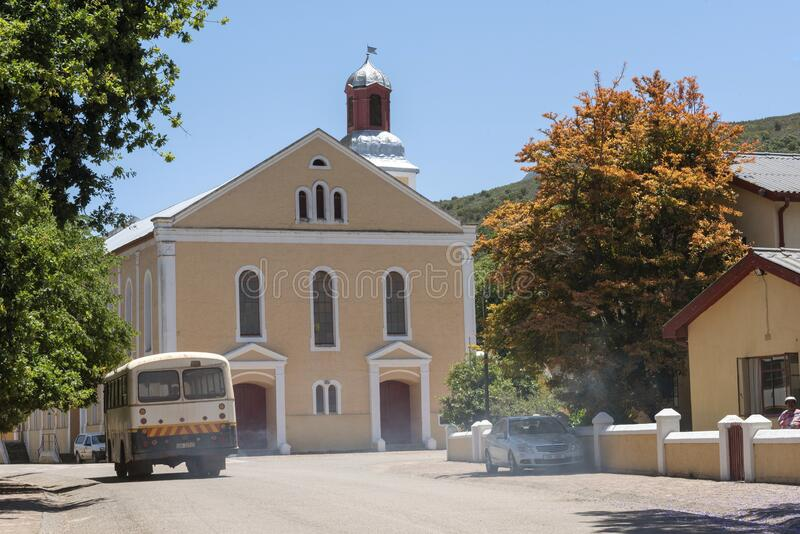 Genadendal  small historic South African towns and church. Genadendal, Overberg, Western Cape, South Africa. Dec 2019. Centre of this historic town and Moravian stock photography