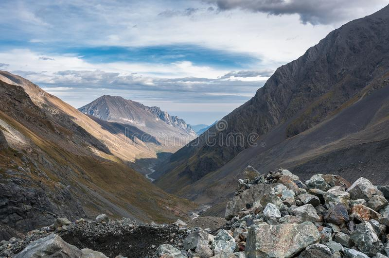 Mountains, travel, nature, snow, clouds stock images