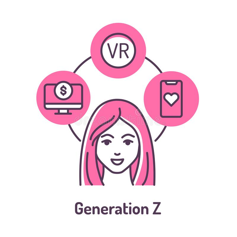 Genaration Z color line icon on pink background. Lifestyle: Remote work, startup, online dating, virtual reality stock illustration