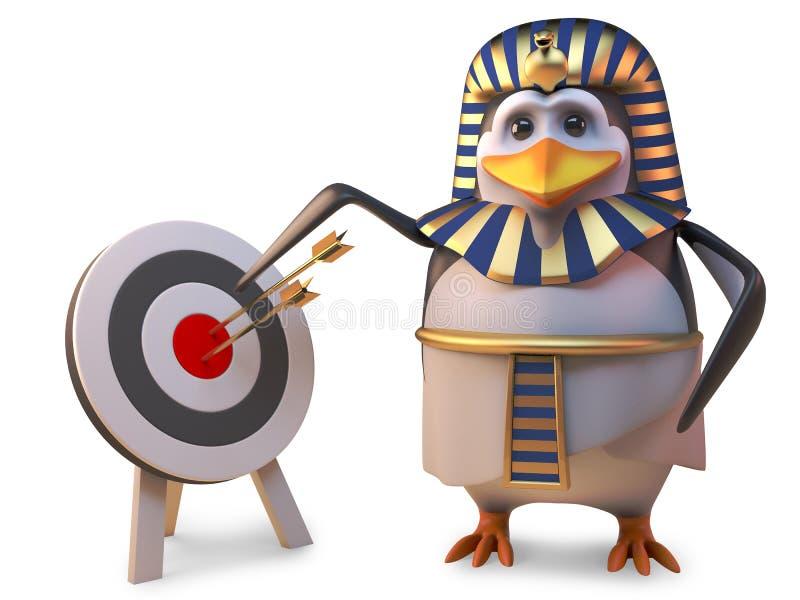 Genaue Pinguinpharao Tutankhamun-Punkte am Bullauge auf dem Ziel, Illustration 3d lizenzfreie abbildung