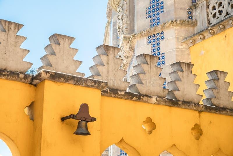 Genauere Ansicht von Pena-Palast in Sintra, Portugal stockbilder