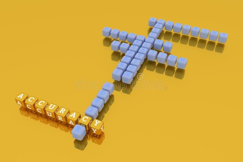 Genauigkeit, Finanzschlüsselwortkreuzworträtsel F?r Webseite, Grafikdesign, Beschaffenheit oder Hintergrund Wiedergabe 3d lizenzfreie abbildung