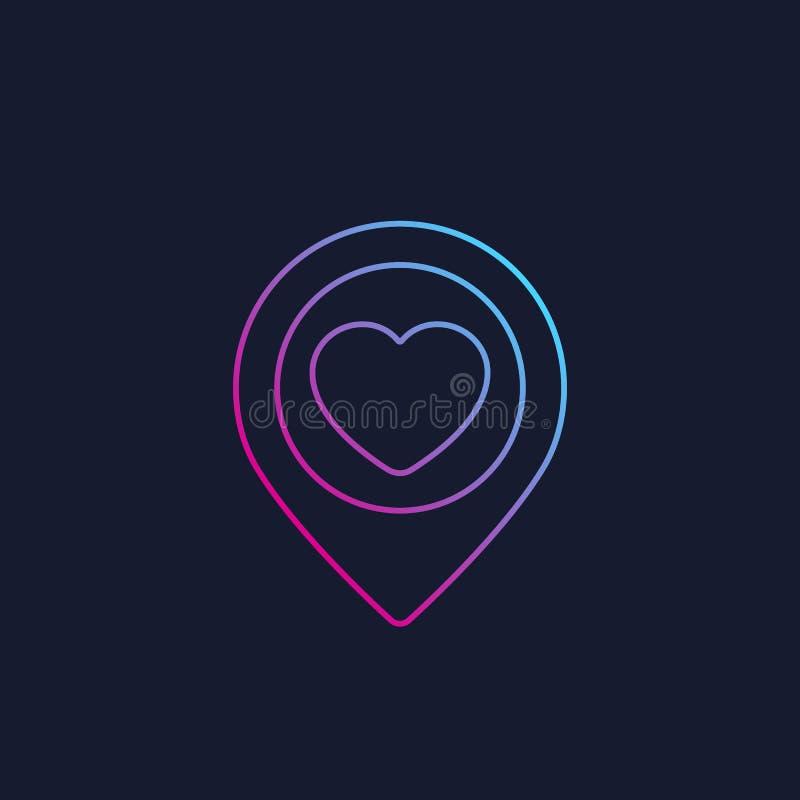 Genauigkeit mit dem Herzen, lineares Logo datierend lizenzfreie abbildung