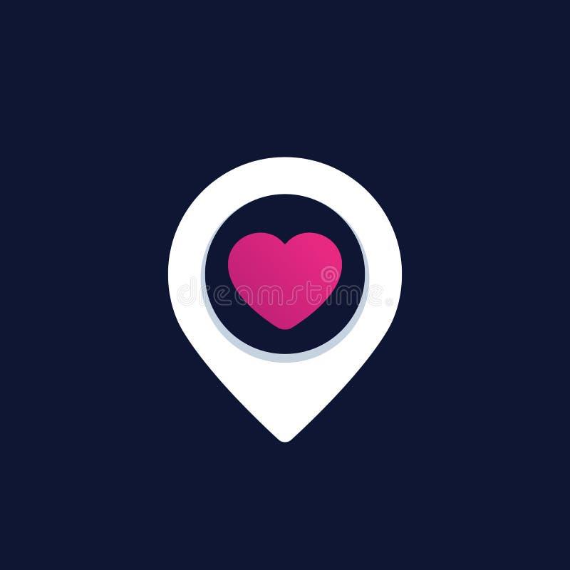 Genauigkeit mit dem Herzen, Logo datierend stock abbildung