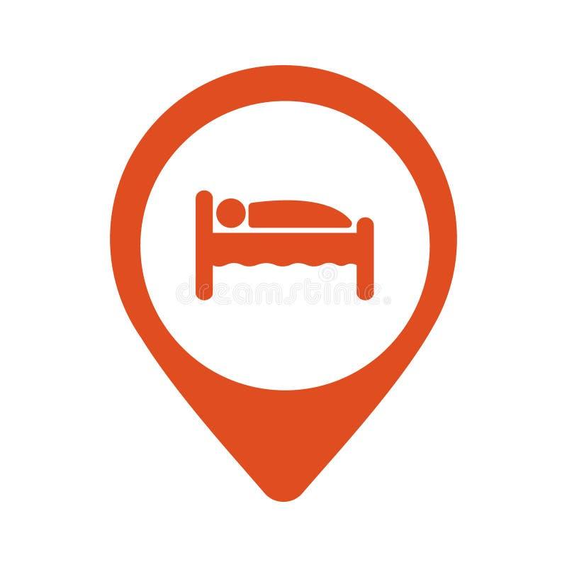 Genauigkeitshotelunterkunft, Kartenpunkt lokalisierte Ikone mit Person im Bettsymbol, Vektor stock abbildung