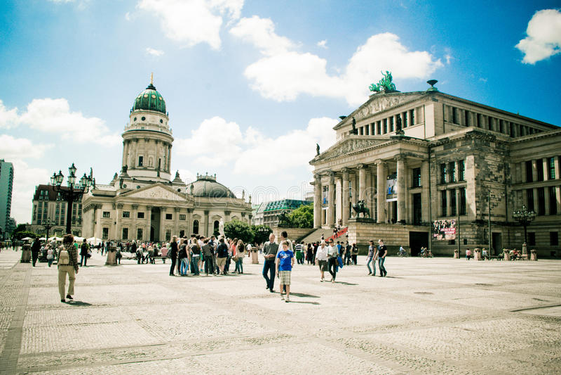 Gendarmenmarkt, Берлин, Германия, город, театр, строя стоковые изображения