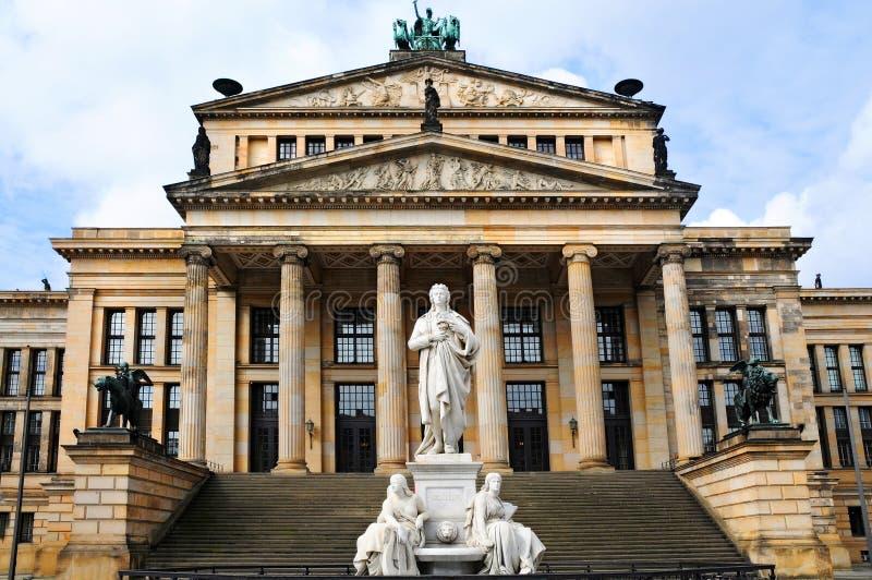 Gendarmenmarkt. Concert hall and statue of Friedrich Schiller at Gendarmenmarkt in Berlin royalty free stock image