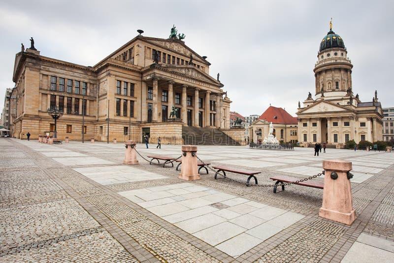 Gendarmenmarkt, Berlin, Germany. Deutscher Dom on Gendarmenmarkt, with the monument of Friedrich Schiller in the foreground. Berlin, Germany royalty free stock images