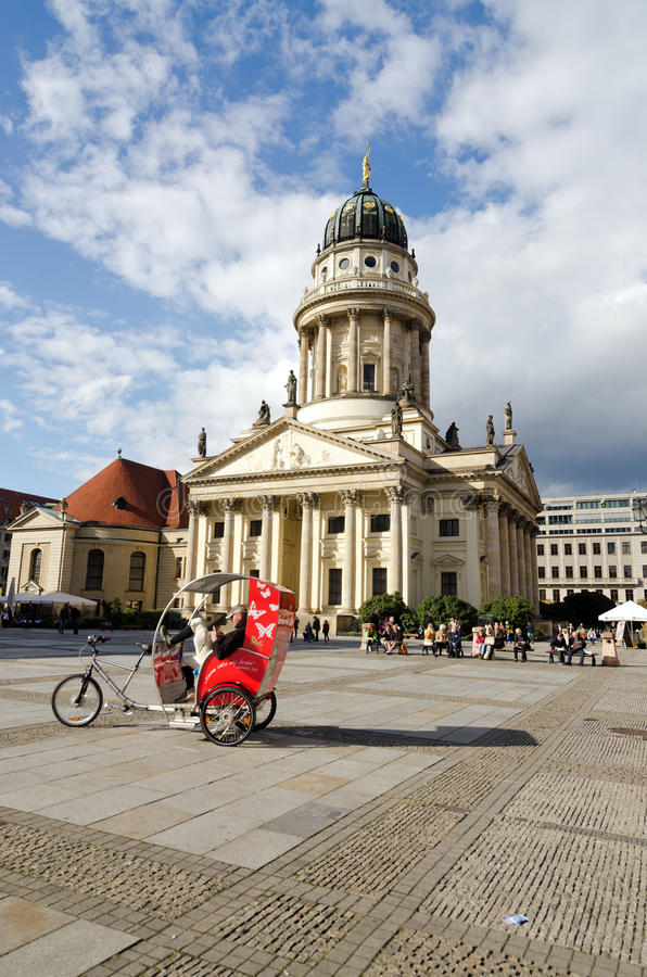 Gendarmenmarkt. BERLIN, GERMANY - SEPTEMBER 28: French Cathedral and Gendarmenmarkt Square on September 28, 2013 in Berlin, Germany. The square was created by royalty free stock image