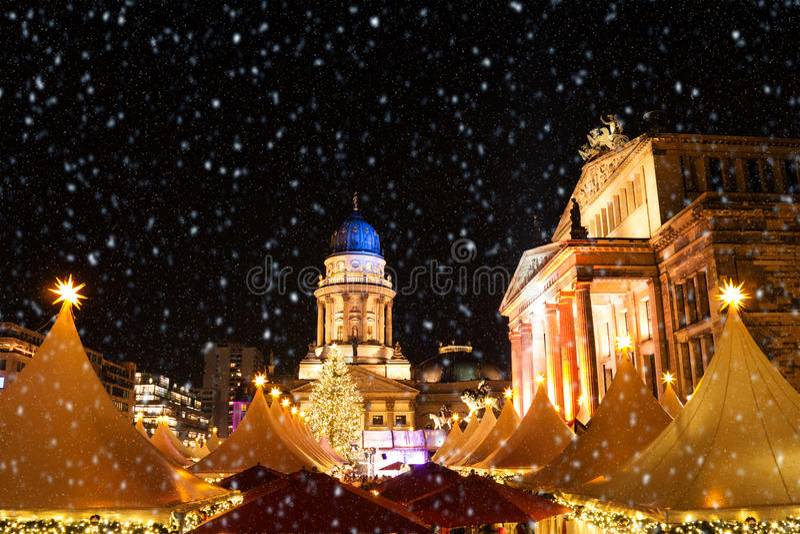 Gendarmenmarkt christmas market. And starry sky in berlin royalty free stock photos