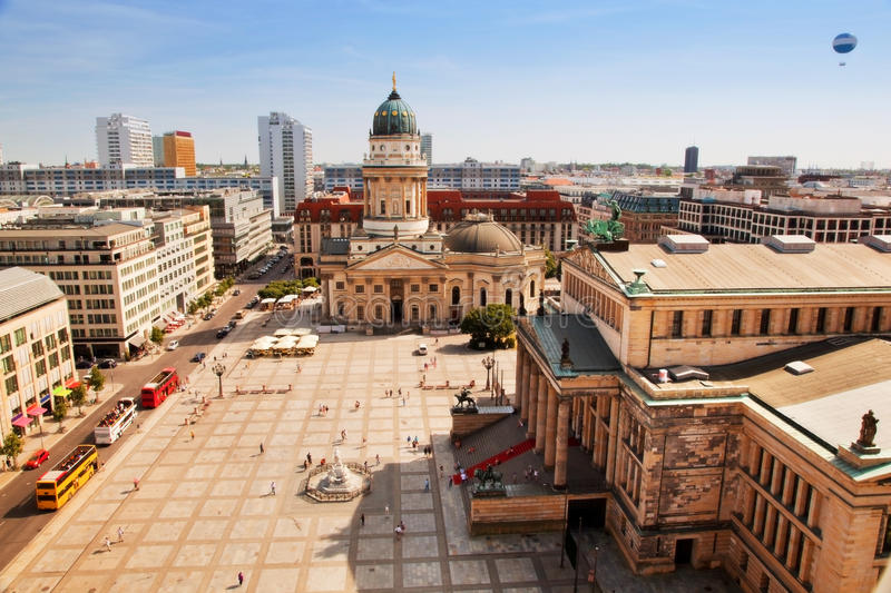 The Gendarmenmarkt and German Cathedral in Berlin. Gendarmenmarkt and German Cathedral from the top of French Cathedral, Berlin, Germany. Vertical view stock photography