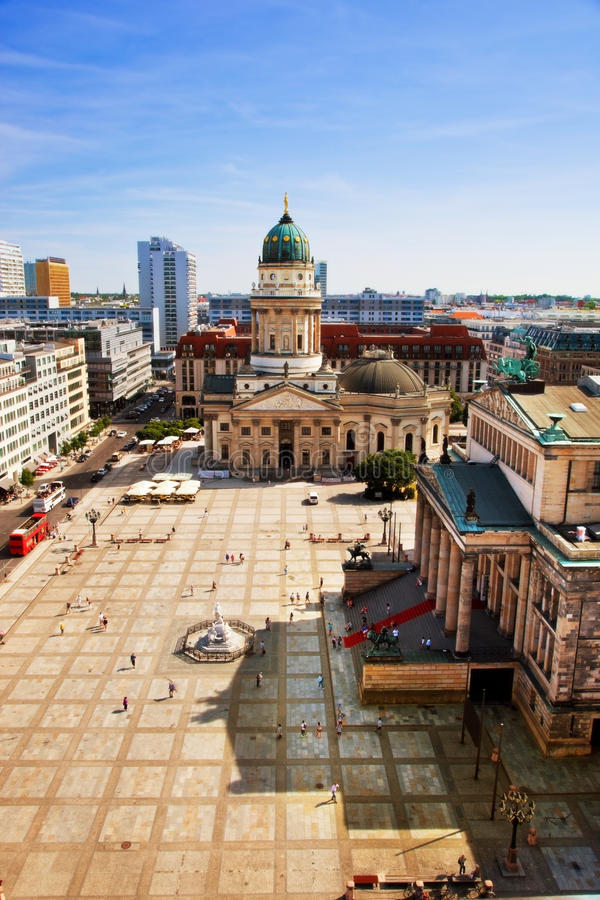 The Gendarmenmarkt and German Cathedral in Berlin. Gendarmenmarkt and German Cathedral from the top of French Cathedral, Berlin, Germany. Vertical view royalty free stock photos
