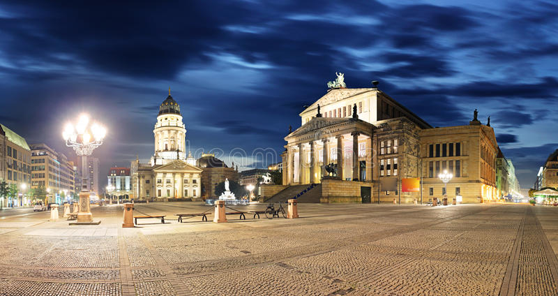 Gendarmenmarkt at night - panorama of Berlin royalty free stock photography
