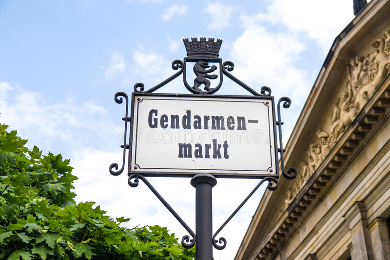 Gendarmenmarkt sign in berlin. Near friedrichstrasse in summer royalty free stock photography