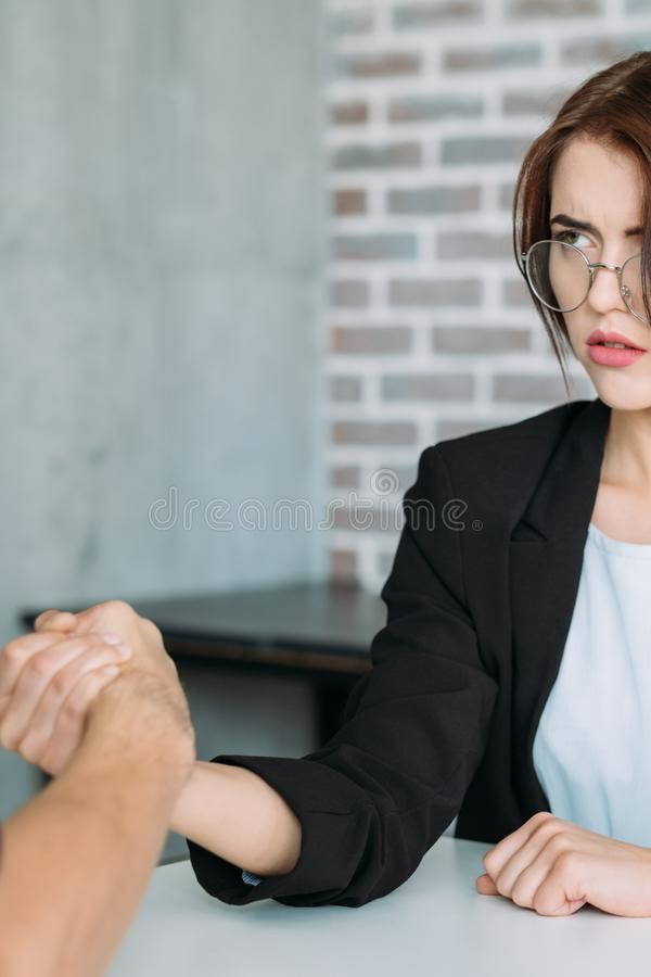 Gender discrimination women rights business. Gender based discrimination. Men against women in business. Vindication of the ladies rights. Professional royalty free stock images