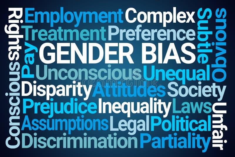 Gender Bias Word Cloud. On Blue Background royalty free illustration