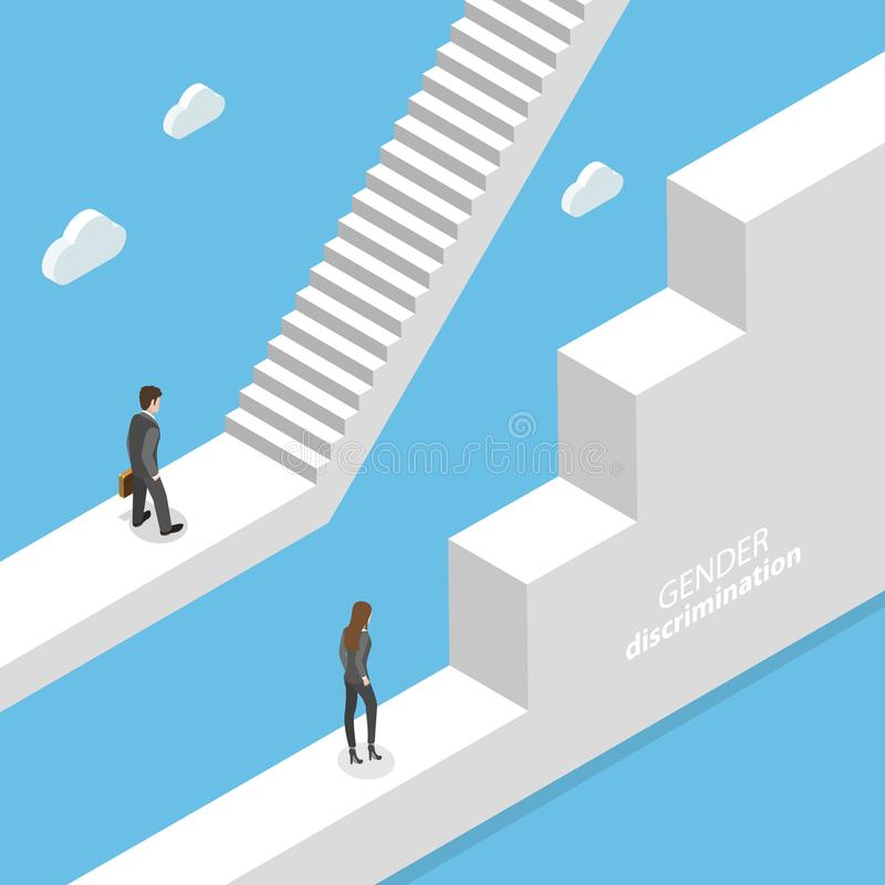 Gender discrimination and inequality isometric flat vector concept. Isometric flat vector concept of gender discrimination, inequality of career and royalty free illustration