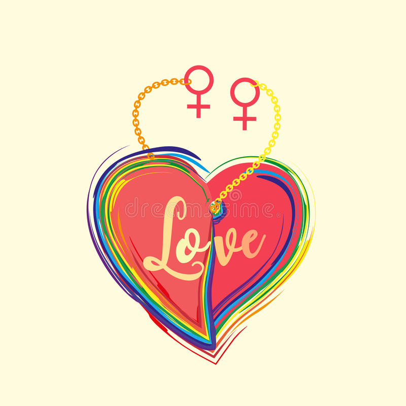 Gender diversity concept. Rainbow heart with lettering Love. LGBT community sign. Romantic card for girlfriends couple with female symbol. Same sexual vector illustration