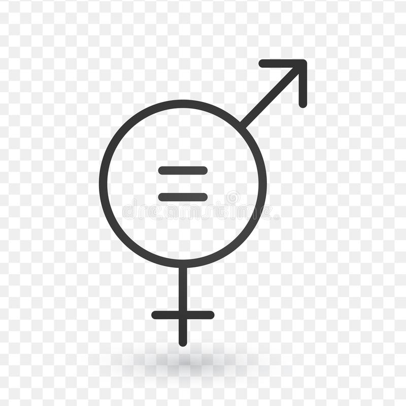 Gender equal sign icon. Men and women equal concept icon in linear design. Editable stroke. stock illustration