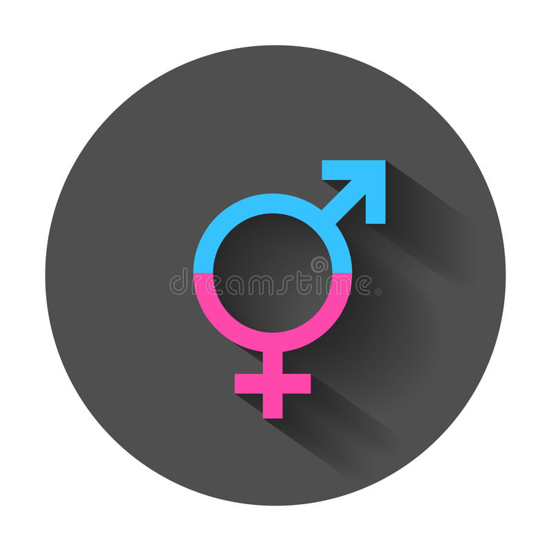 Gender equal sign vector icon. Men and women equal concept icon with long shadow royalty free illustration