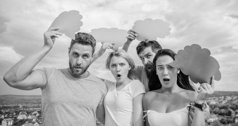 Gender equality and communication. People speak using speech bubbles. Friends send messages on comic bubbles. Group royalty free stock photography