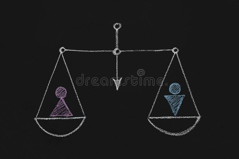 Drawn scales with male and female gender figures stock image