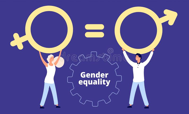 Gender equality concept. Flat vector male and female characters with sex sign royalty free illustration