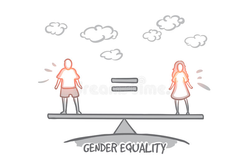 Gender equality concept. Hand drawn isolated vector. stock illustration