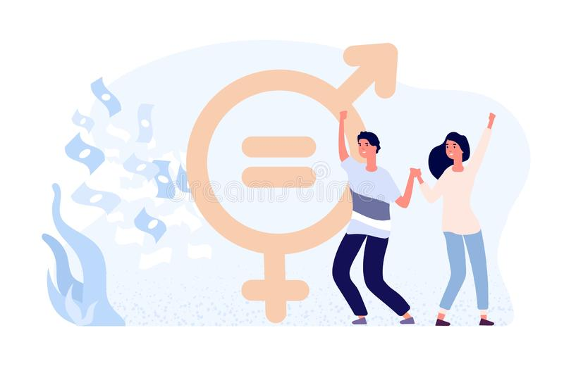 Gender equality concept. Happy female and male flat vector characters, money and gender sign. Gender wage equality stock illustration