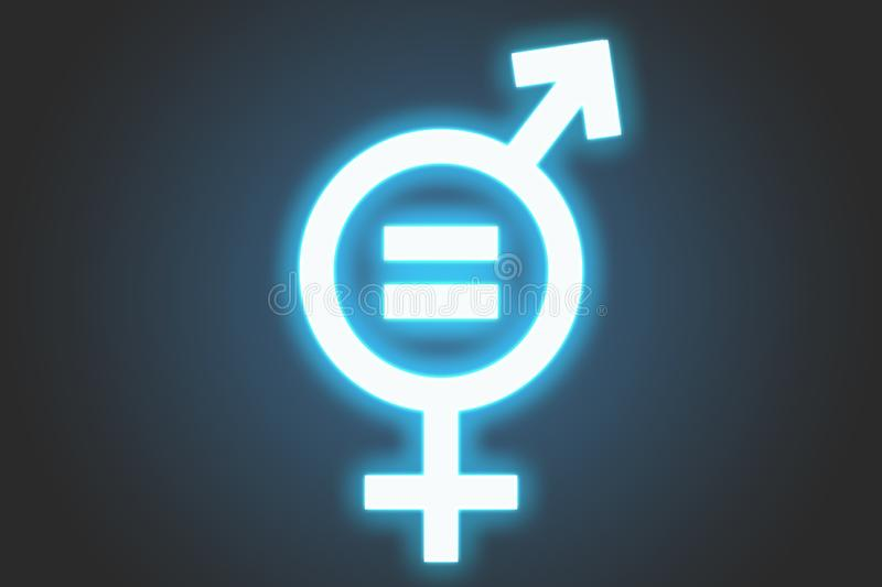 Gender equality concept. Sex sign as a metaphor of social issue. Neon sign. Men and women equal concept icon. Simple icon for royalty free illustration