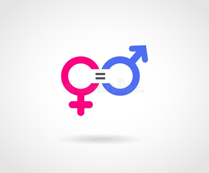 Gender Equality Concept Vector Icon. Gender Equality Concept Icon. Blue and Pink colored symbol for male and female representation with equal sign in between vector illustration