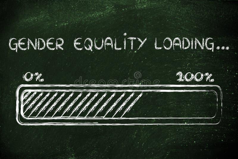 Gender equality loading, progess bar illustration stock photo