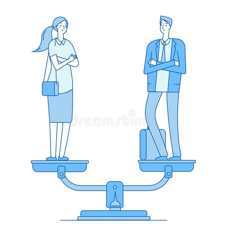 Gender equality. Man and woman on scale in balance. Women rights gender equal employment feminism vector line business royalty free illustration