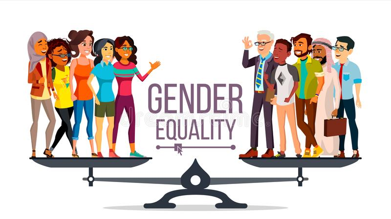 Gender Equality Vector. Man, Woman, Male, Female On Scales. Equal Opportunity. Isolated Flat Cartoon Illustration royalty free illustration