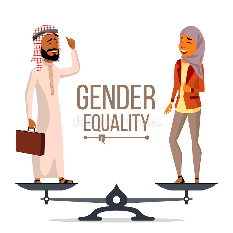 Gender Equality Vector. Businessman, Business Woman. Equal Opportunity, Rights. Male And Female. Standing On Scales vector illustration