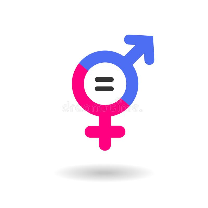 Gender Equality Vector Icon isolated on white BG. Gender Equality Concept Icon. Blue and Pink colored symbol for male and female representation with equal sign vector illustration
